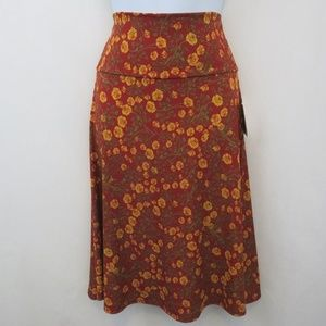 LuLaRoe Azure Rose Print Maroon Skirt New